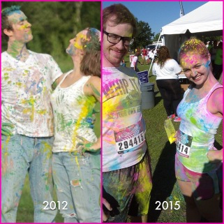 Engagement pics in 2012 and The Color Vibe in 2015