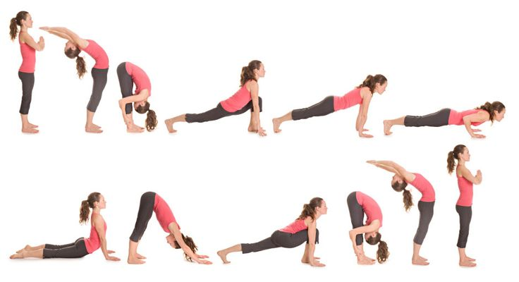 Sun Salutations - includes lunges, downward dog, and a yoga push-up. You can hold any pose a little longer to focus on strengthening a muscle group.
