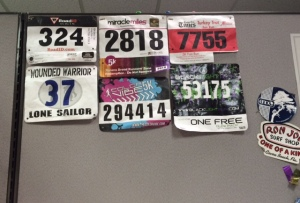 race bibs cubicle wall