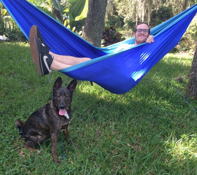 a boy and his dog, and an Eno. CasiRuns